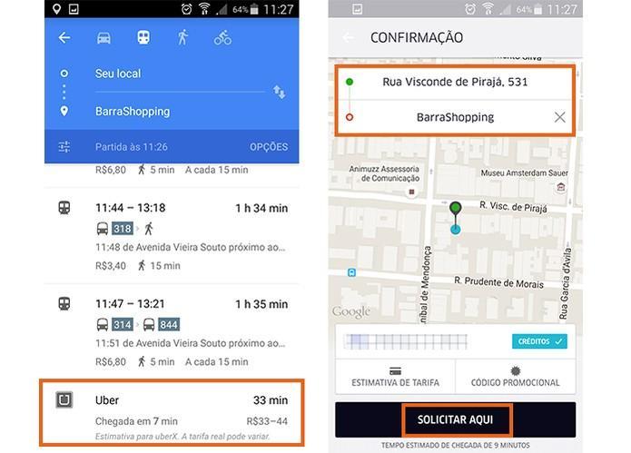 Uber pelo Google Maps